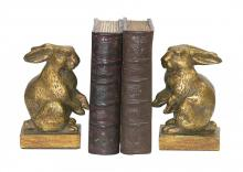 Sterling Industries 4-83037 - Baby Rabbit Bookends In Antique Gold And Brown - Pair