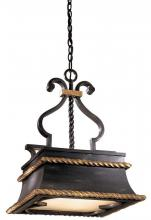 Minka Metropolitan N6111-20 - French Black W/gold Highlights Double French Scavo Glass Down Pendant