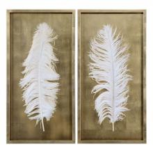 Uttermost 04057 - Uttermost White Feathers Gold Shadow Box S/2